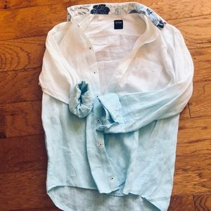 Benson NY  boutique  linen ombré button shirt  M